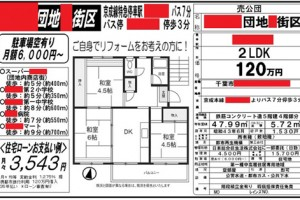 激安公団マンションの一例。エレベータのない4階のため、通常は 300~500 万円で売り出すところを、120 万円という思い切った価格をつけて、35 年ローンの支払い例として、「月々 3543 円」との試算も出している。