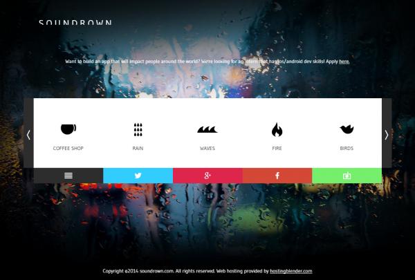 カフェ、雨、波、火、鳥、夜の虫、電車、噴水、アナログテレビの砂嵐、公園の音をBGMにできるサイト「soundrown」
