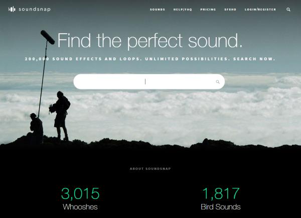 20万種類以上の効果音や環境音を探して聴ける「soundsnap」